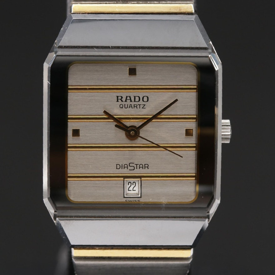 Swiss Rado Diastar Date Stainless Steel and Ceramic Wristwatch