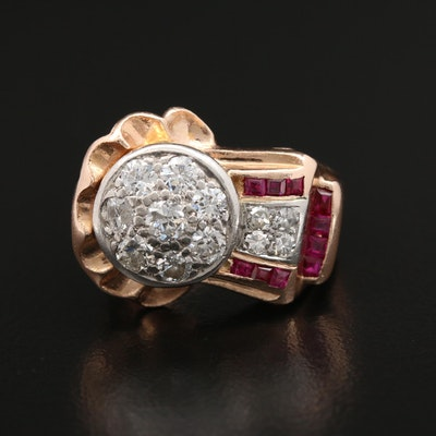 Retro 14K Rose Gold Diamond and Synthetic Ruby Ring with Platinum Top