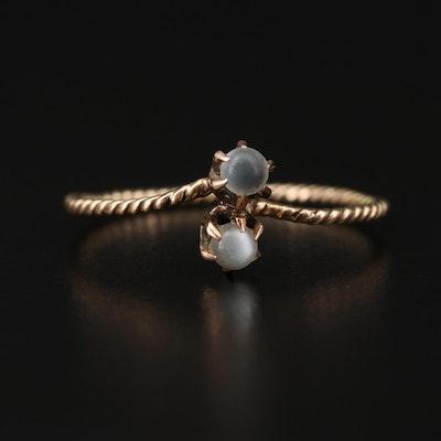 Circa 1910 10K Gold Moonstone Bypass Ring