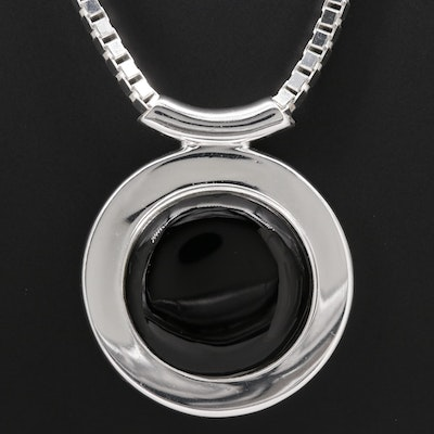Sterling Silver Black Onyx Pendant Necklace Featuring Box Style Chain
