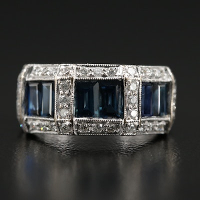 18K White Gold Synthetic Sapphire and 0.51 CTW Diamond Ring