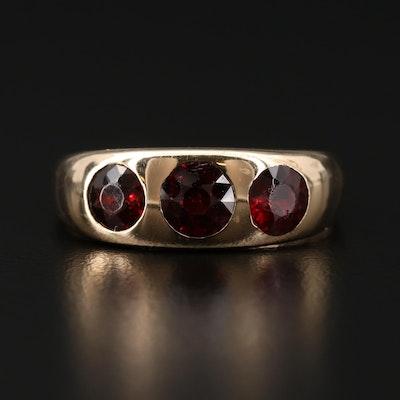14K Gold Gypsy Set Garnet Ring