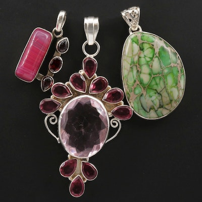 Collection of Sterling Silver Pendants with Garnet, Agate and Glass