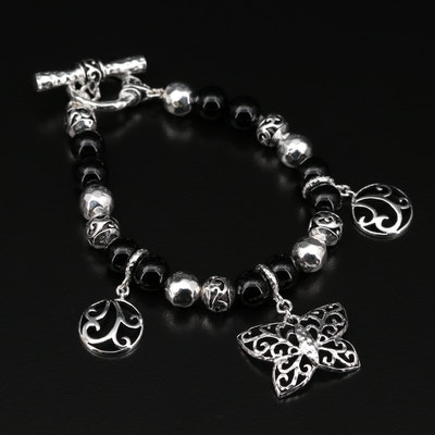 Sterling Silver Black Onyx Butterfly Beaded Bracelet