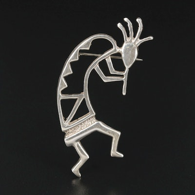 Signed Sterling Silver Kokopelli Brooch