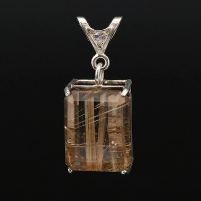 Sterling Silver Rutilated Quartz and Cubic Zirconia Pendant