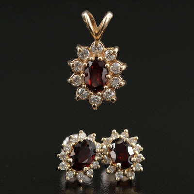 14K Yellow Gold Garnet and Diamond Pendant and Stud Earrings