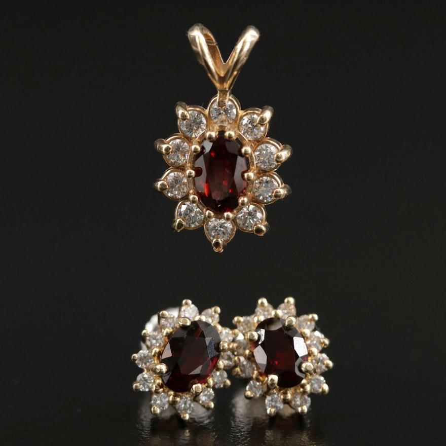 14K Yellow Gold Garnet and Diamond Pendant and Stud Earrings