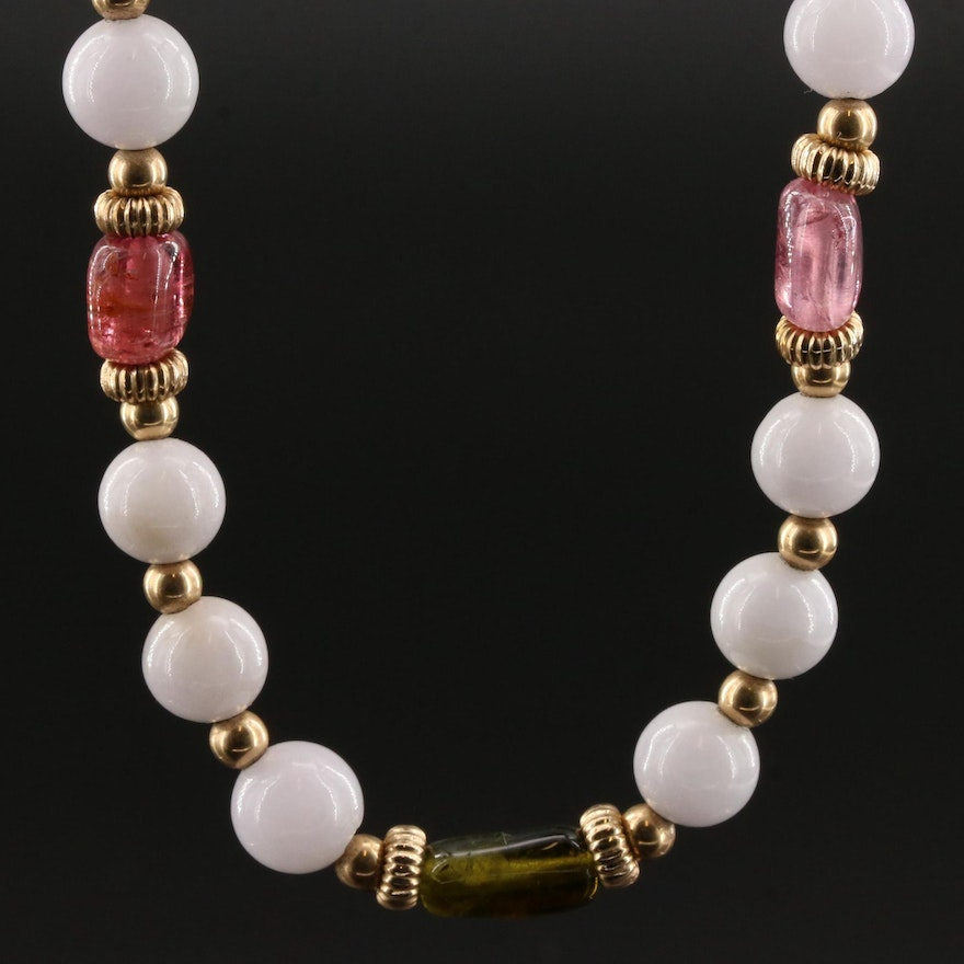 Green and Pink Tourmaline With Quartzite Bead Necklace Featuring 14K Gold Clasp