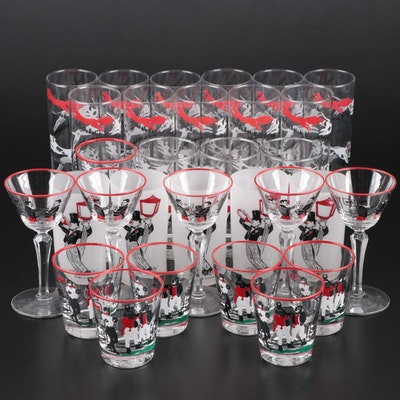 Styson and Libbey Fox Hunt Themed Glassware, Mid-20th Century