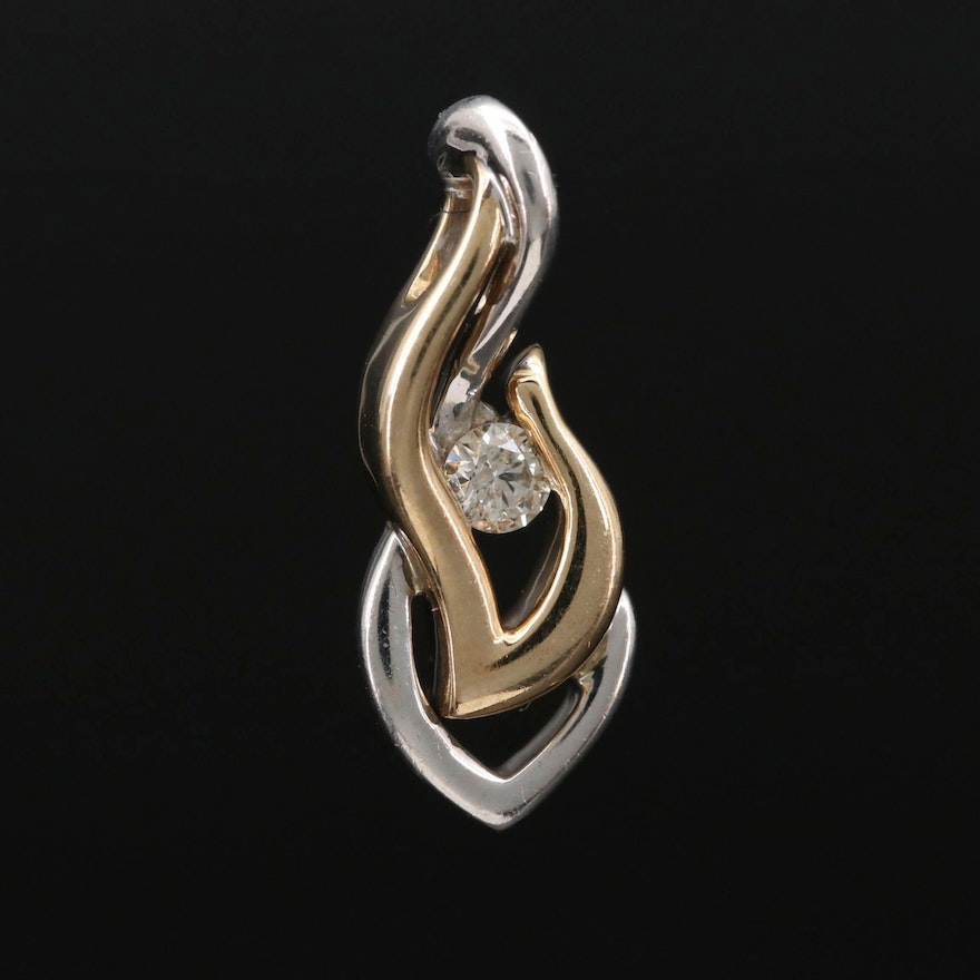 Sterling and 10K Gold Diamond Pendant