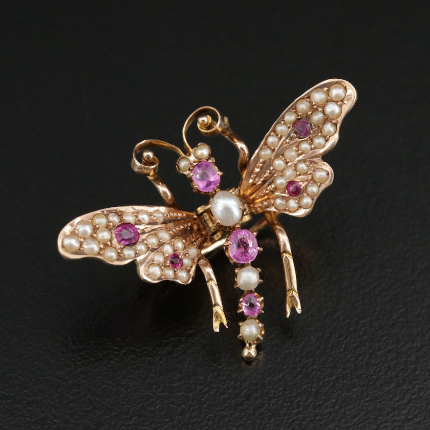 Art Nouveau 9K Yellow Gold Ruby and Cultured Pearl Butterfly Clip Brooch