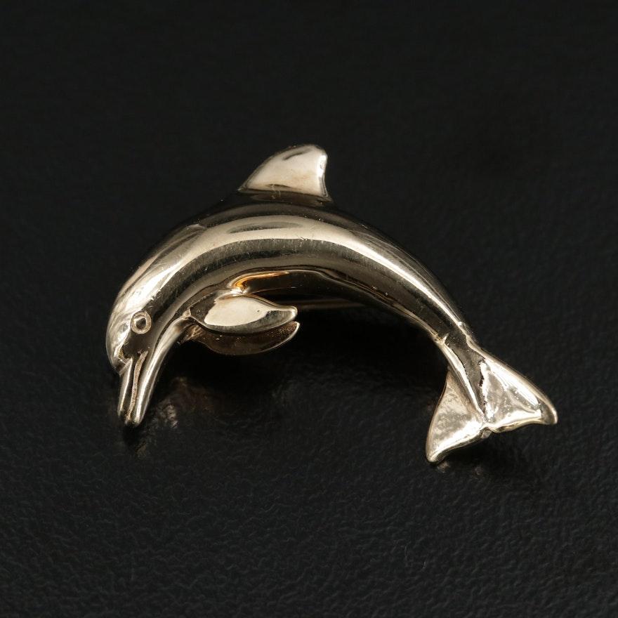 B.A. Ballou & Co 14K Yellow Gold Dolphin Brooch