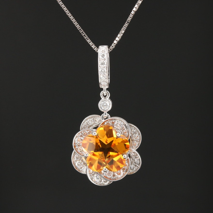18K White Gold Citrine and Diamond Flower Pendant Necklace