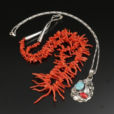 Sterling Coral and Turquoise Necklaces With Willie Nezzie Navajo Diné Pendant
