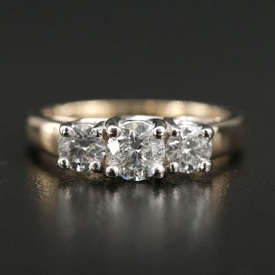 14K White Gold 1.00 CTW Diamond Three Stone Ring