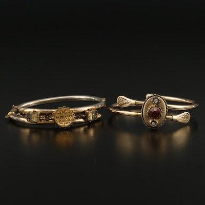Victorian Bates and Bacon Rhinestone Hinged Bracelets