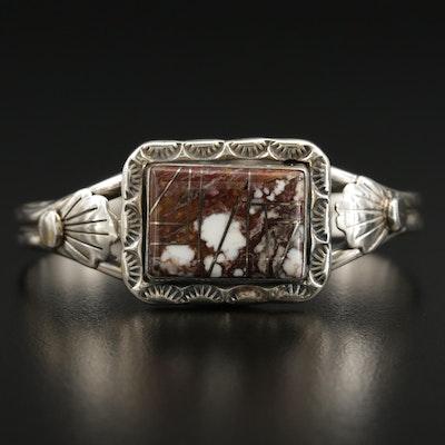 Southwestern Style Sterling Silver Jasper Inlay Cuff Bracelet