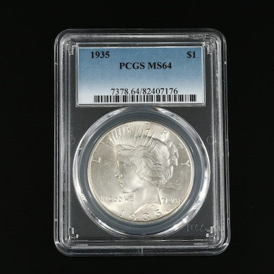 PCGS Graded MS64 1935 Peace Silver Dollar