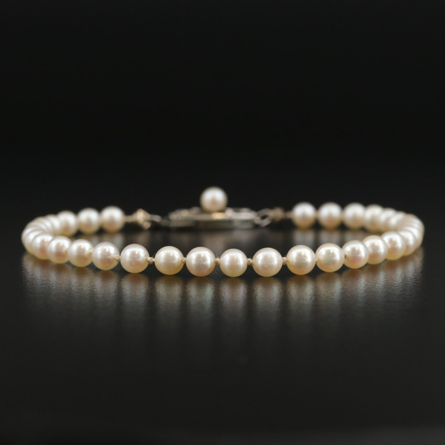 Vintage Mikimoto Sterling Silver Cultured Pearl Bracelet