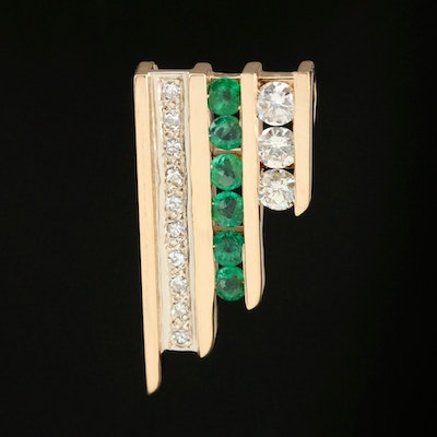 Contemporary Style 14K Emerald and Diamond Pendant