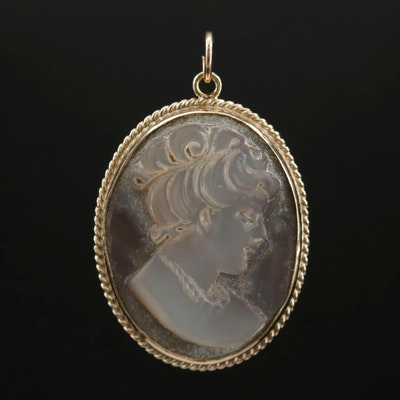 Vintage 14K Yellow Gold and Grey Mother of Pearl Cameo Pendant