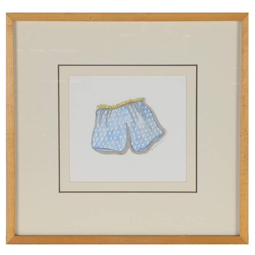 Barbara Embree Watercolor Painting of Boxer Shorts