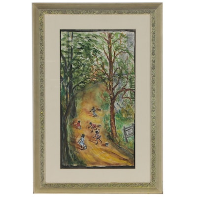 Maude Woods Watercolor Folk Painting of Children in Landscape, 1966