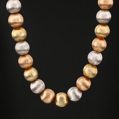 14K Tri-Color Gold Florentine Beaded Necklace