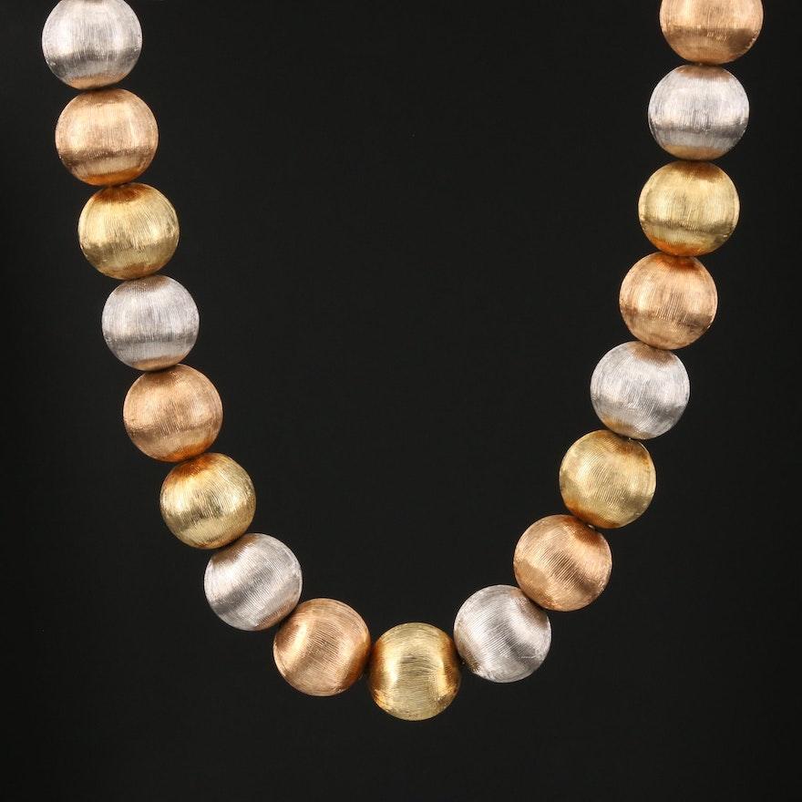 14K Tri-Color Gold Florentine Beaded Necklace