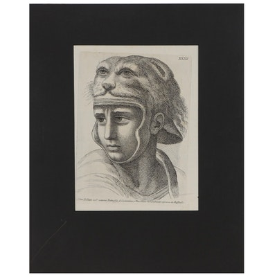 Portrait Etching of Soldier After Raphael, 18th or 19th Century