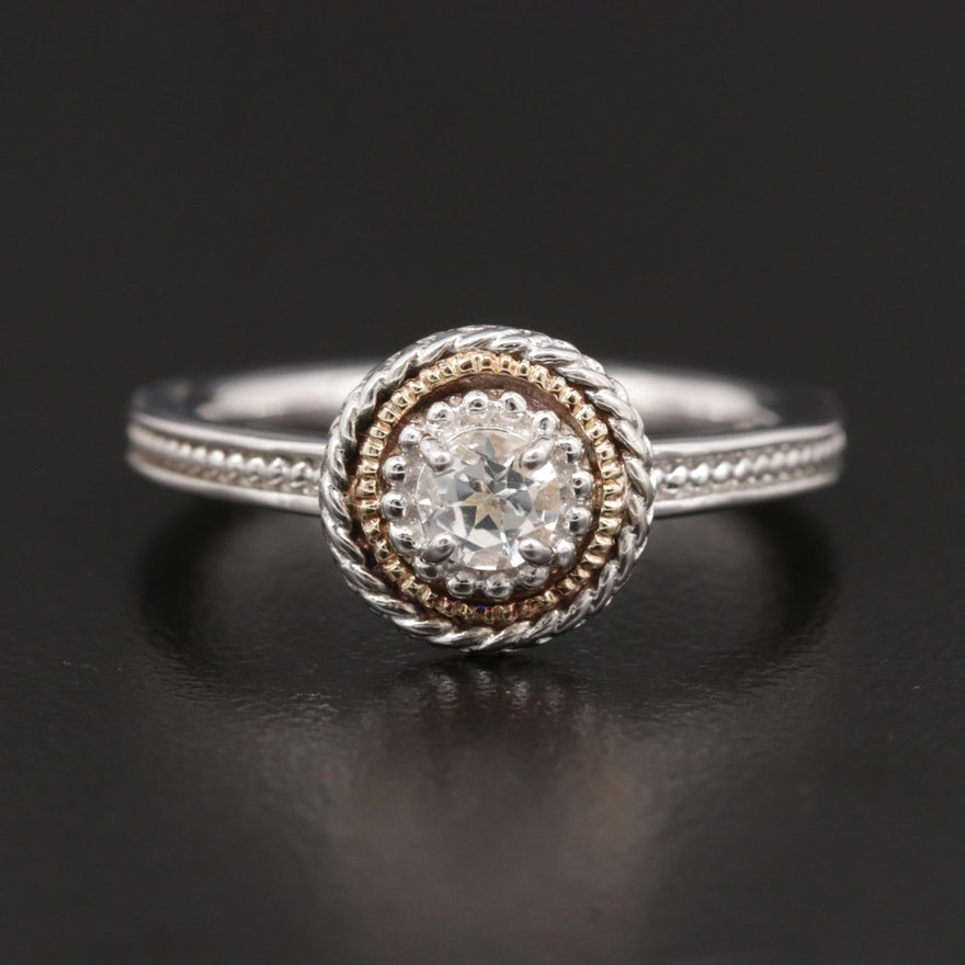 Sterling Silver Topaz Ring with 14K Yellow Gold Accent