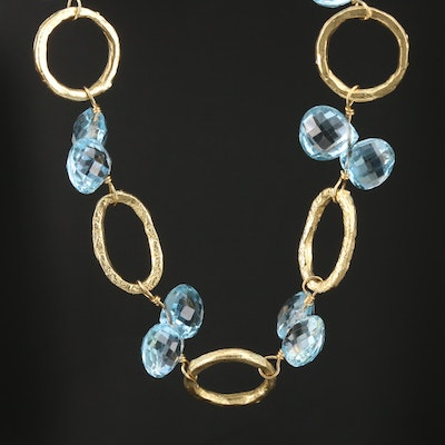 18K Yellow Gold Blue Topaz Link Necklace