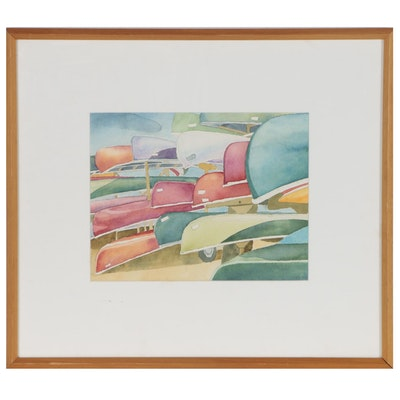 Watercolor Painting of Stacked Canoes, 1983
