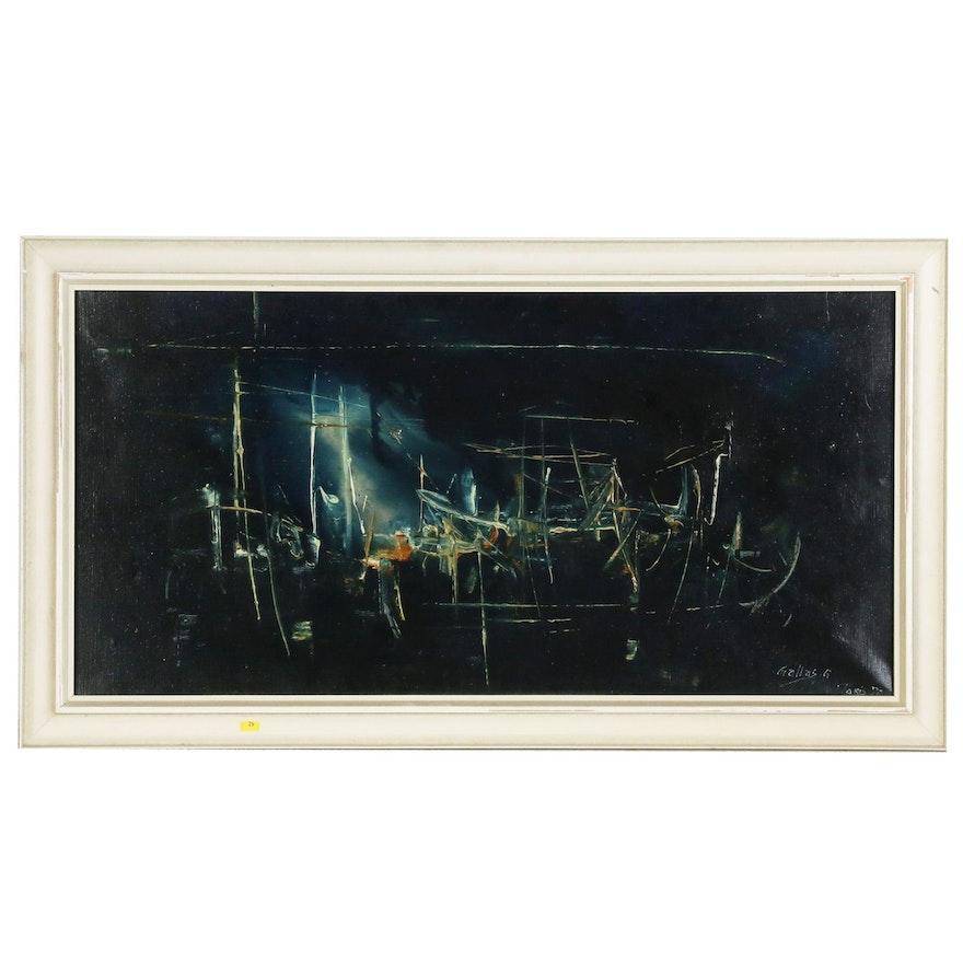 Gaston Gallas Abstract Oil Painting, 1970