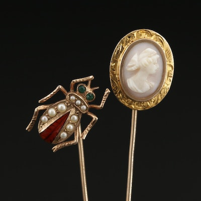 Victorian 10K Yellow Gold Carved Cameo and Insect Stick Pins