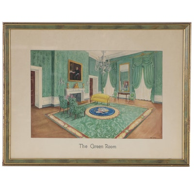 "Jane Small Watercolor Painting of White House Interior ""The Green Room"""