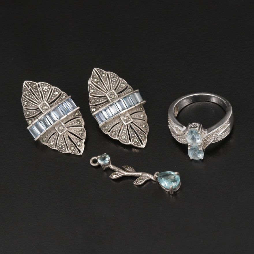 Sterling Silver Jewelry with Synthetic Spinel, Aquamarine and Marcasite