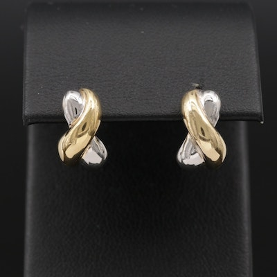 "14K Yellow Gold ""X"" Motif Earrings"