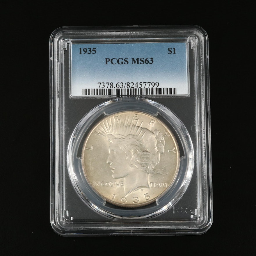 PCGS Graded MS63 1935 Peace Silver Dollar