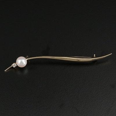 14K Minimalist Pearl and Diamond Brooch