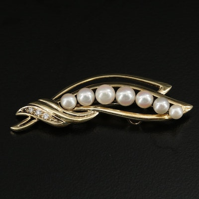 14K White Gold Cultured Pearl and Diamond Brooch Featuring Foliate Motif