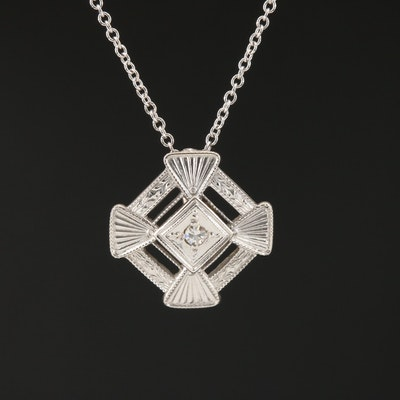 14K Gold Geometric Diamond Necklace