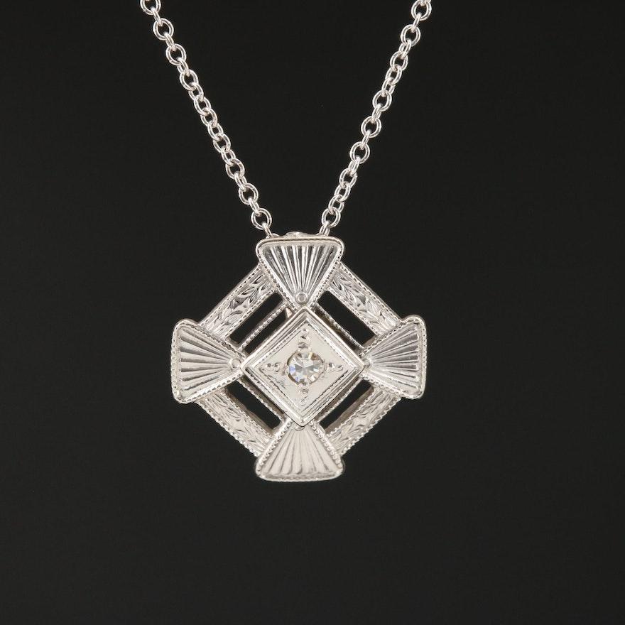 14K Gold Geometric Diamond Necklace