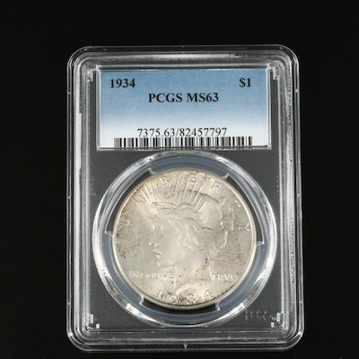 PCGS Graded MS63 1934 Peace Silver Dollar