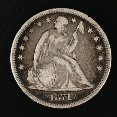 1871 Liberty Seated Silver Dollar