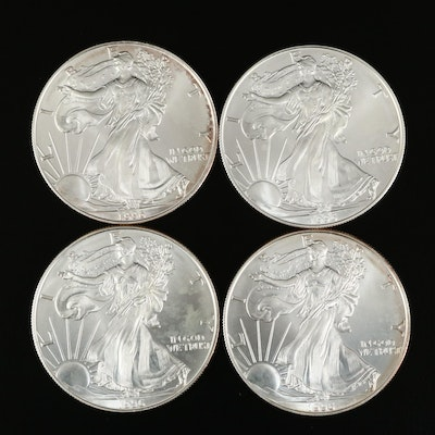 Four 1996 $1 American Silver Eagle Bullion Coins