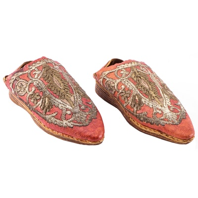 Turkish Handcrafted Leather Slippers with Goldwork Embroidery, Antique