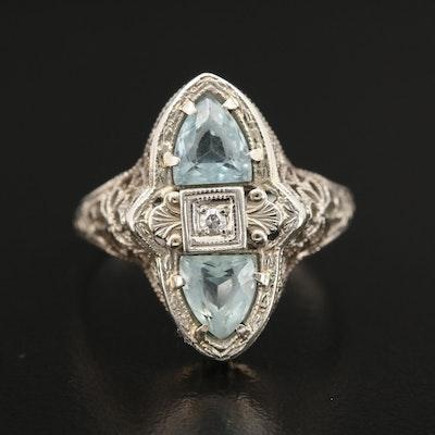 1930s 14K Aquamarine and Diamond Ring