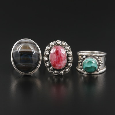 Southwest Style Sterling Silver Malachite, Agate and Corandum Rings
